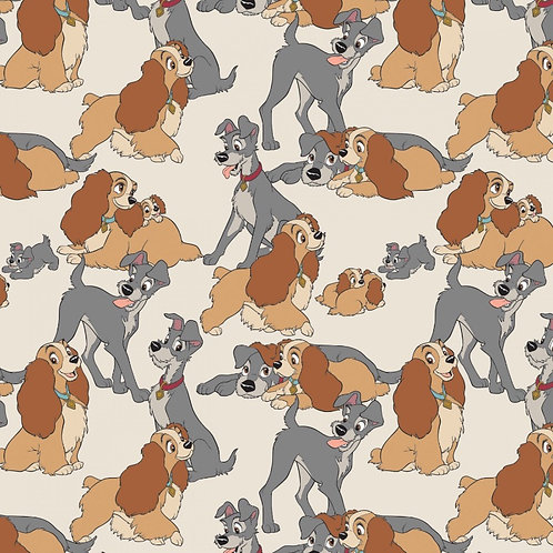 Disney Cream Disney Lady and The Tramp Perfect Fur Family Fabric