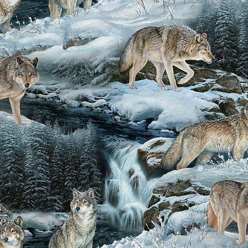 Contemplation Scenic Wolves Fabric