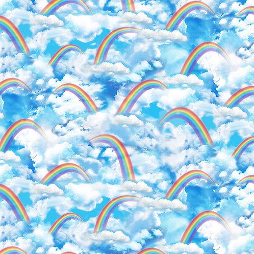 Bright Rainbow Clouds Fabric