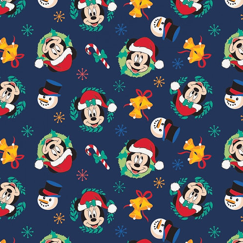 Mickey Mouse Joy To The World Christmas Fabric