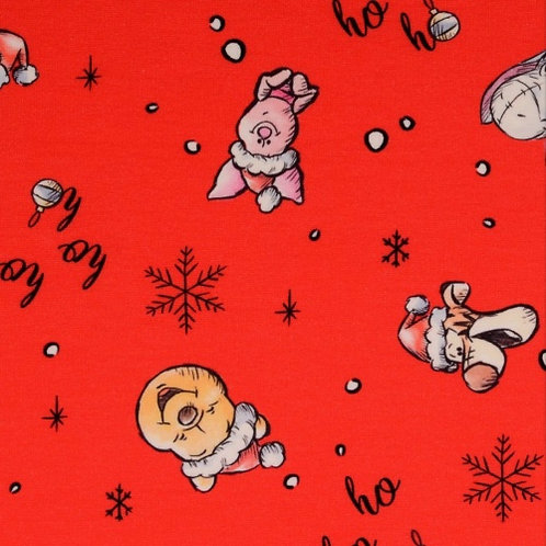 French Terry - Red Snowflakes Winnie the Pooh Fabric