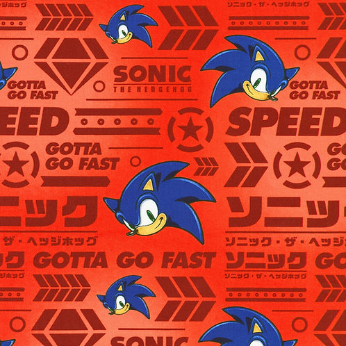 Red Sonic the Hedgehog Fabric