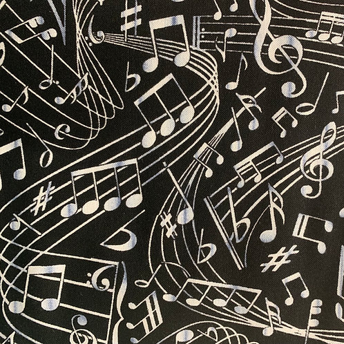 Black Musical Notes Fabric