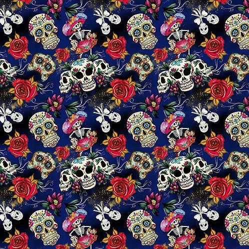 Day of the Dead Blue Fabric