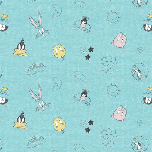 Looney Tunes Character Head Toss Fabric - Blue