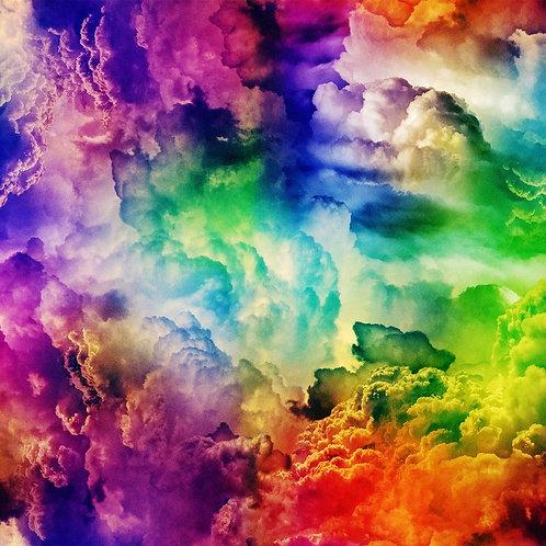 Hoffman Radical Rainbow Clouds Fabric