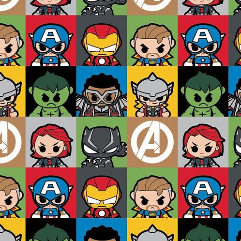 Marvel Kawaii Hero Blocks Fabric