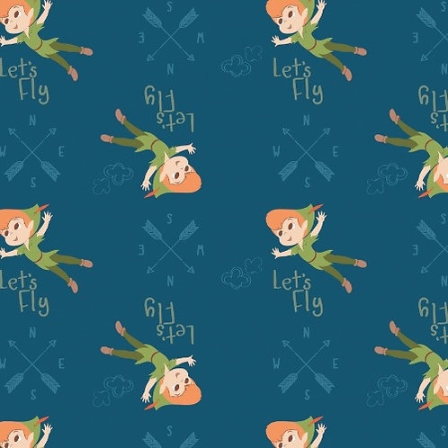 Disney Blue Peter Pan Let's Fly Fabric