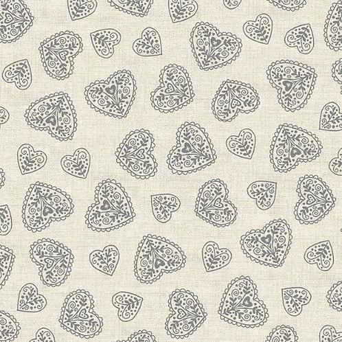 Silver Hearts Makower Scandi Christmas Fabric