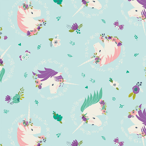 Aqua Unicorns and Flowers Fabric