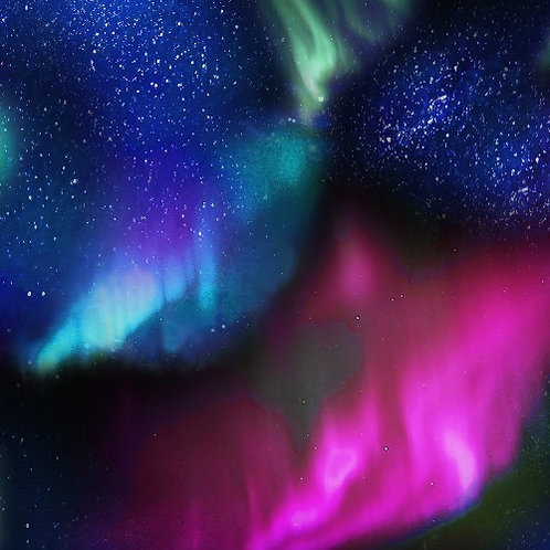 Night Northern Lights Fabric