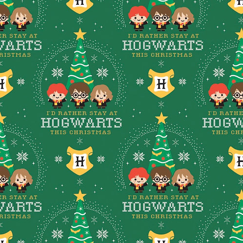 Harry Potter I'd Rather Stay At Hogwarts Christmas Fabric