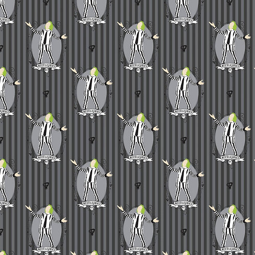 Beetlejuice it's Showtime Fabric - Grey
