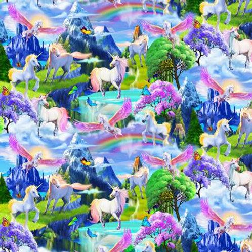 Magical Unicorn Garden Fabric