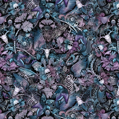 Multi Skull Floral Butterfly Tattoo Print Halloween Fabric