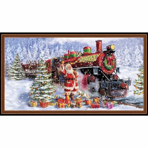 Santas Night Out Train Christmas Panel