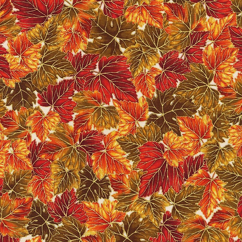 Leaves Nature Harvest Fabric with Metallic