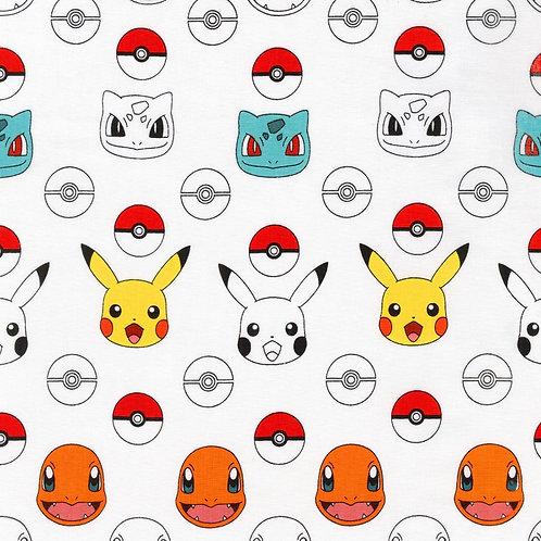 Pokemon White Character Heads Fabric