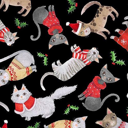 Cats in Christmas Jumbers Fabric