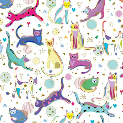 Kitty Cats White Cats - Quilting Treasures Cat Fabric