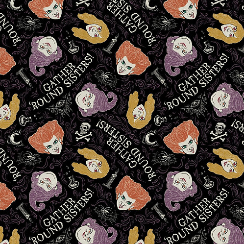 Disney Hocus Pocus Gather Round Sisters Fabric - Black