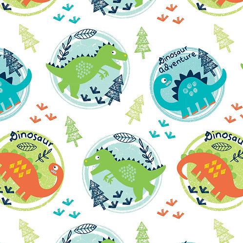 Dinosaur in Circles Fabric
