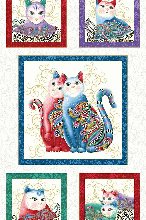 White Catitude Purr fect Together Fabric Panel - Metallic
