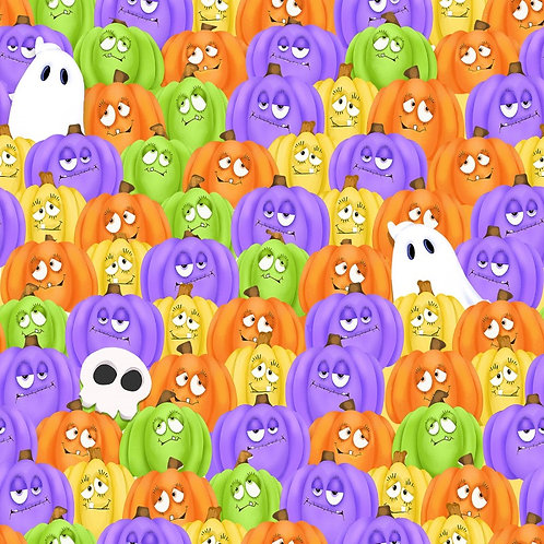 Glow Ghosts Stacked Pumpkins and Ghosts Glow In The Dark Fabric