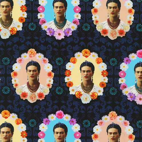 Midnight Frida Kahlo Picture in Floral Frame