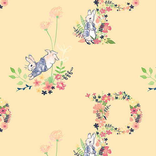 Peter Rabbit Floral Letter Fabric