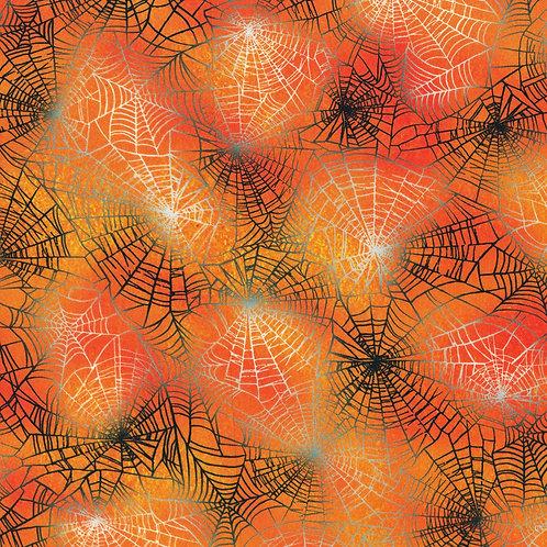 Pumpkin Raven Moon Spider Web Fabric