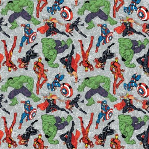 Marvel Heroes on Line Art Fabric - Grey