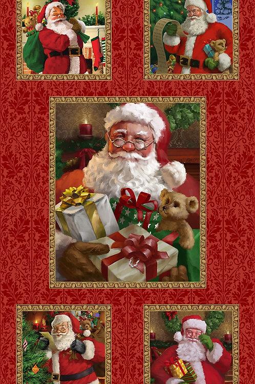 Red Santa Block Christmas Panel