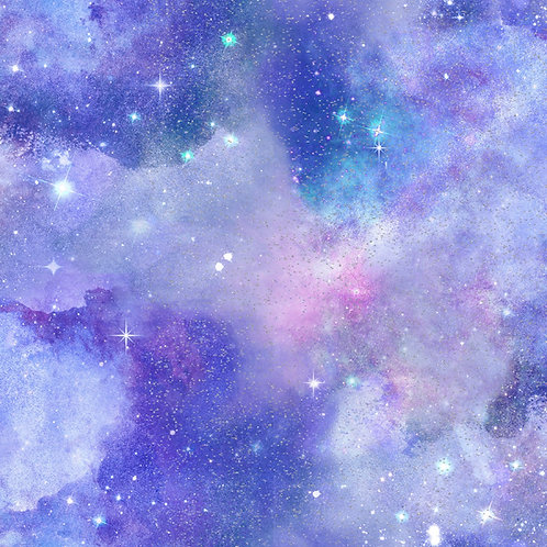 Magical Galaxy Purple Sky Fabric with Glitter