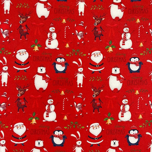Merry Christmas Red Fabric