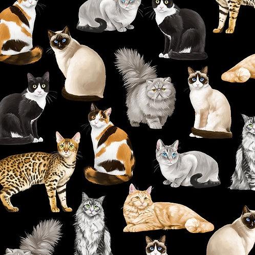 Black Feline Fancy Cats Fabric