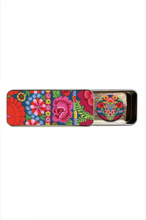Kaffe Fassett Artesian Embroidered Flower Border Needle Tin With Magnet
