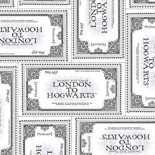 Harry Potter Ticket To Hogwarts Fabric - White