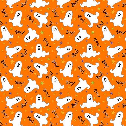 Here We Glow Orange Tossed Ghosts Glow In The Dark Fabric