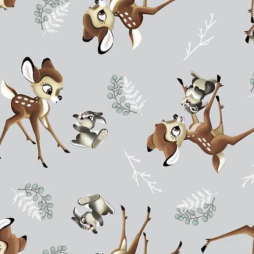 Disney Bambi and Thumper Fabric - Grey