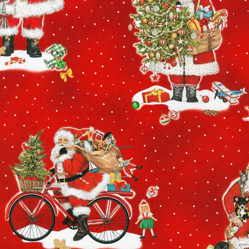 Holly Jolly Christmas Fabric - Red