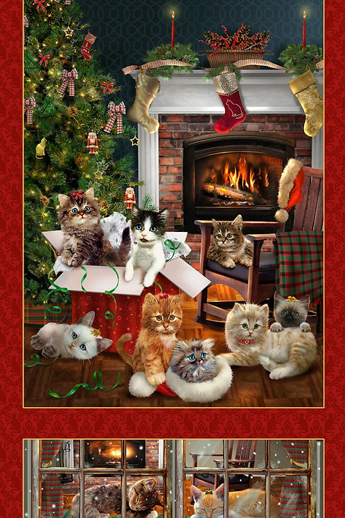 Fireside Kittens Christmas Panel