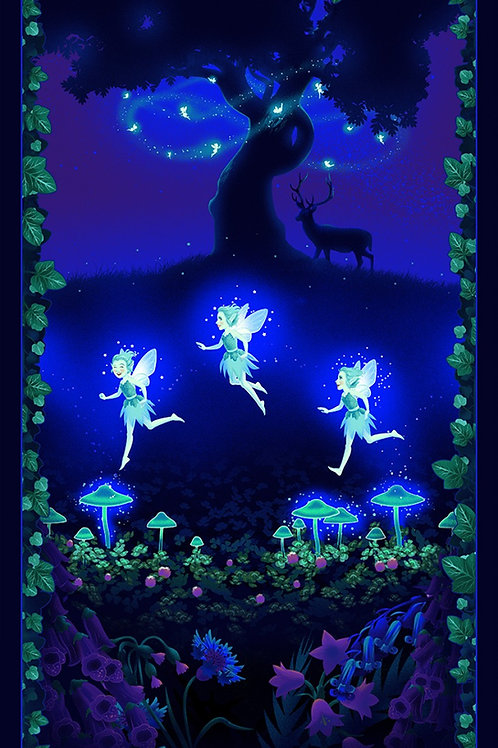 Multi Fairies on the Meadow Panel Glows in the Dark
