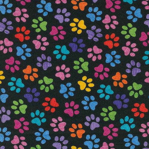 Multi Black Paws Fabric