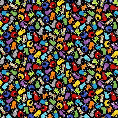 Black Mini Colourful Cats Fabric