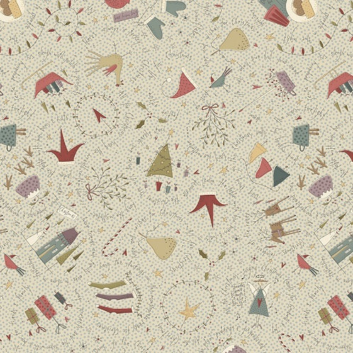 Anni Downs All For Christmas Cream Allover Fabric