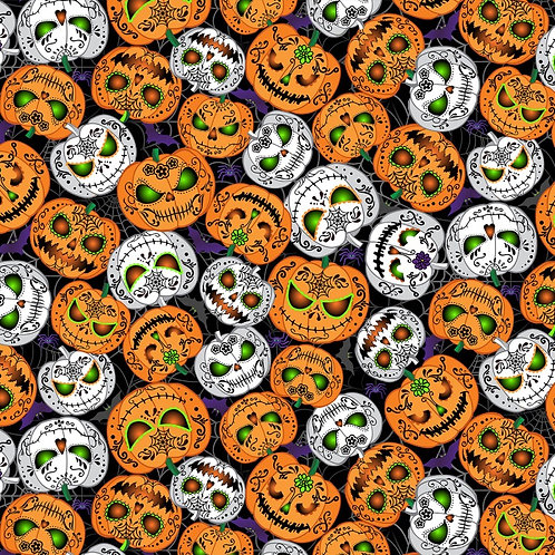 Black Scary Pumpkins Fabric Glow in the Dark