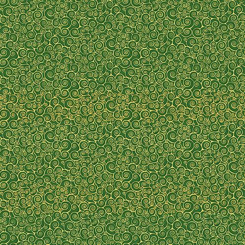 Green Rhapsody Scroll Spray Classic Foliage Fabric Makower 2182-G5