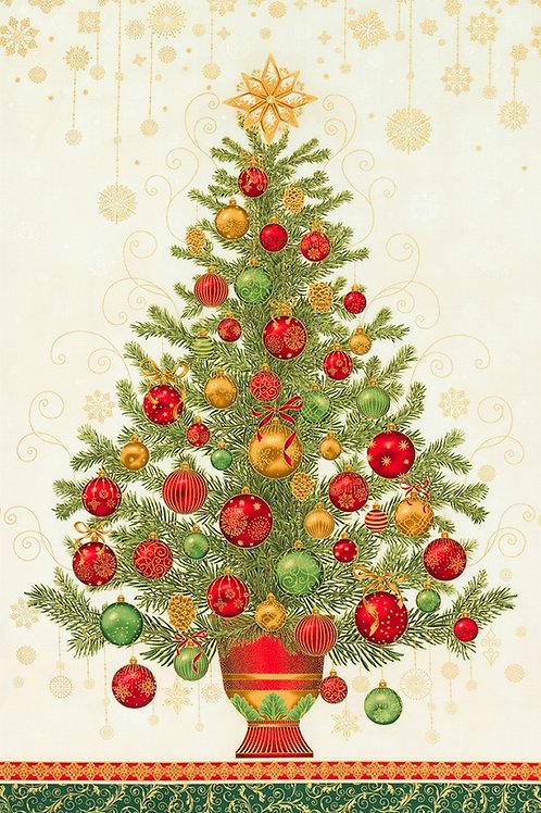 Holiday Flourish Christmas Tree Panel with Metallic 24in