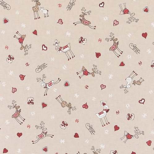 Christmas Reindeers and Hearts Linen Look Fabric